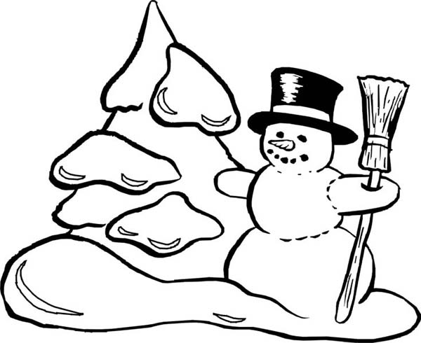 Snowman, : Snowman Making Snow Mountain Coloring Page