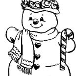 Snowman, Snowman And Candy Cane Coloring Page: Snowman and Candy Cane Coloring Page
