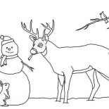 Snowman, Snowman And His Animal Friends Coloring Page: Snowman and His Animal Friends Coloring Page