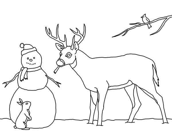 Snowman, : Snowman and His Animal Friends Coloring Page