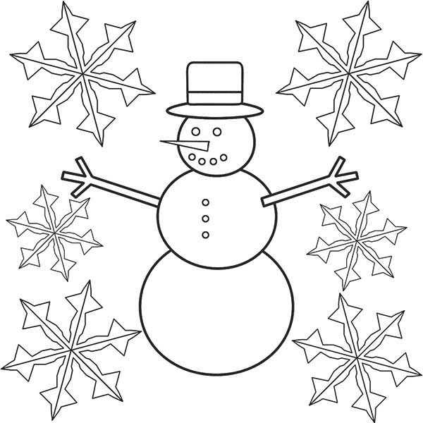 Snowman, : Snowman and Snowflakes Coloring Page