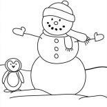 Snowman, Snowman And A Penguin Coloring Page: Snowman and a Penguin Coloring Page