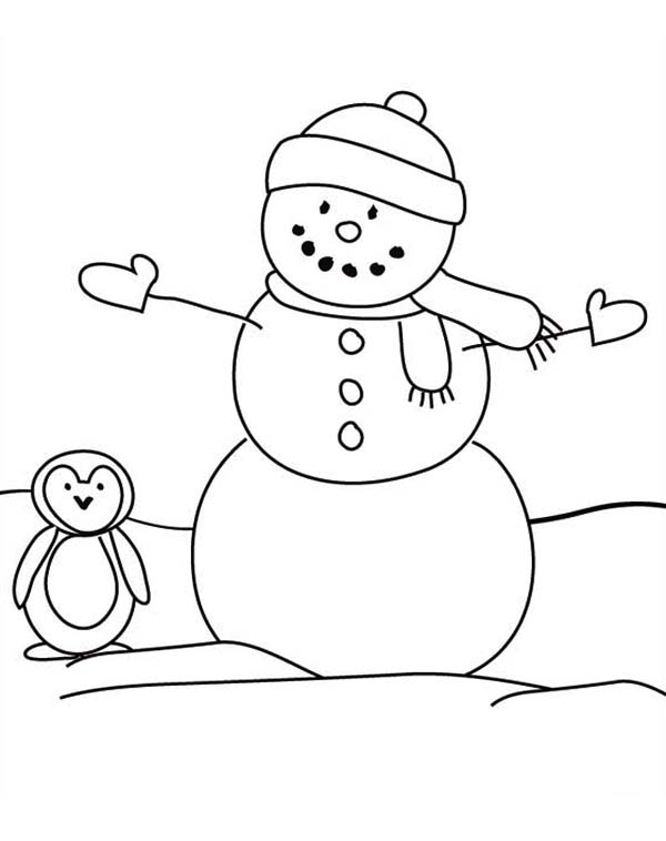 Snowman, : Snowman and a Penguin Coloring Page