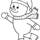 Snowman, Snowman Is Skating Coloring Page: Snowman is Skating Coloring Page