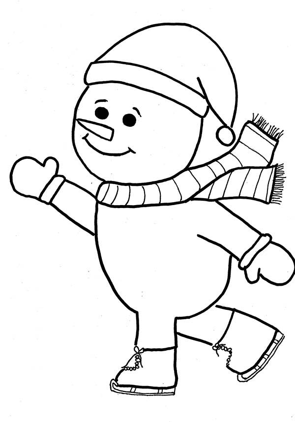 Snowman, : Snowman is Skating Coloring Page