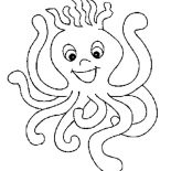 Octopus, Spikey Haired Octopus Coloring Page: Spikey Haired Octopus Coloring Page