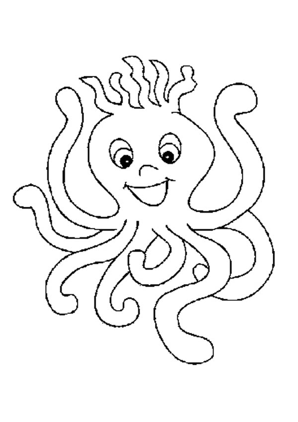 Octopus, : Spikey Haired Octopus Coloring Page