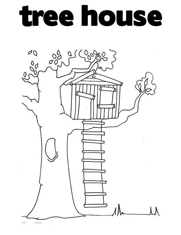 Treehouse, : T is for Treehouse Coloring Page
