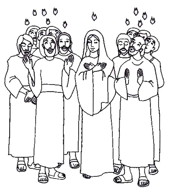 Pentecost, : The Apostle of Jesus is Praise for Holy Spirit in Pentecost Coloring Page