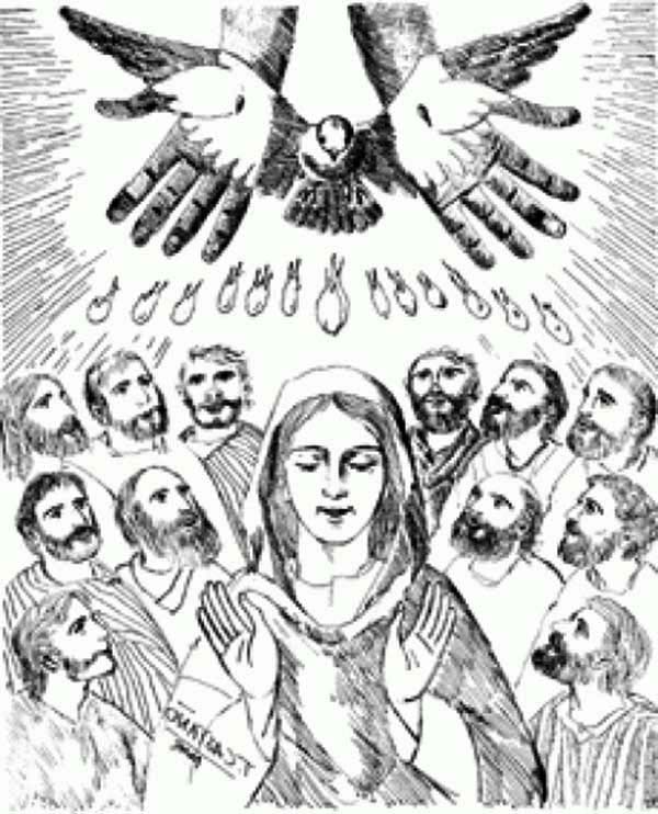 Pentecost, : The Holy Spirit Upon the Apostles in Pentecost Coloring Page