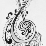 Treble Clef, Treble Clef Hand Drawing Coloring Page: Treble Clef Hand Drawing Coloring Page