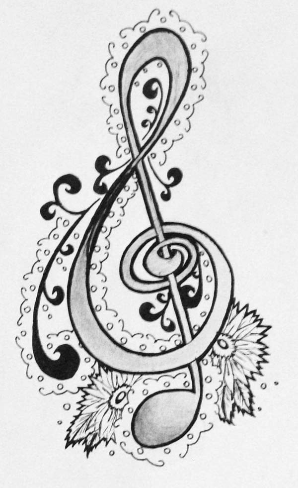 Treble Clef, : Treble Clef Hand Drawing Coloring Page