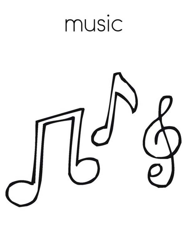 Treble Clef, : Treble Clef is Music Note Coloring Page
