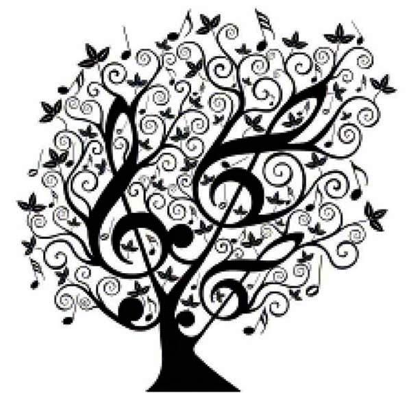Treble Clef, : Tree of Treble Clef Coloring Page