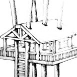 Treehouse, Treehouse Awesome Design Coloring Page: Treehouse Awesome Design Coloring Page