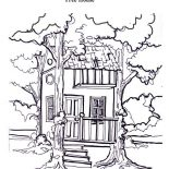 Treehouse, Treehouse Between Two Tree Coloring Page: Treehouse Between Two Tree Coloring Page