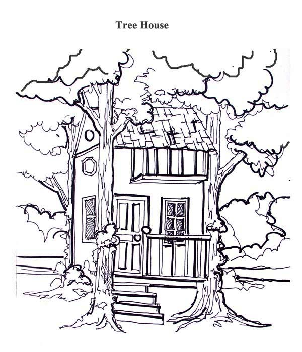 Treehouse, : Treehouse Between Two Tree Coloring Page