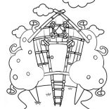 Treehouse, Treehouse Drawing Coloring Page: Treehouse Drawing Coloring Page