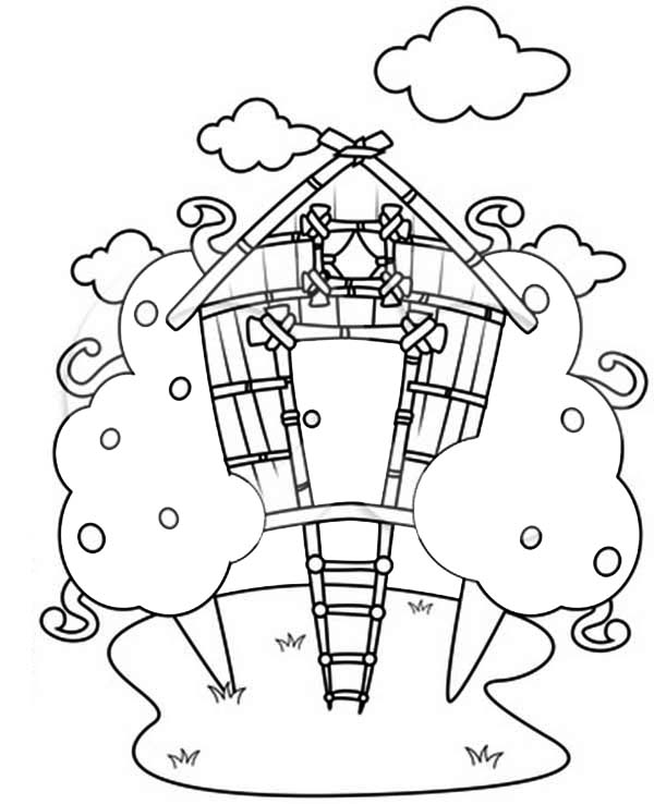 Treehouse, : Treehouse Drawing Coloring Page