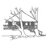 Treehouse, Treehouse Over The Beach Coloring Page: Treehouse Over the Beach Coloring Page