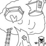 Treehouse, Treehouse And A Beaver Coloring Page: Treehouse and a Beaver Coloring Page