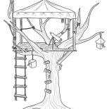 Treehouse, Treehouse For Observer Coloring Page: Treehouse for Observer Coloring Page