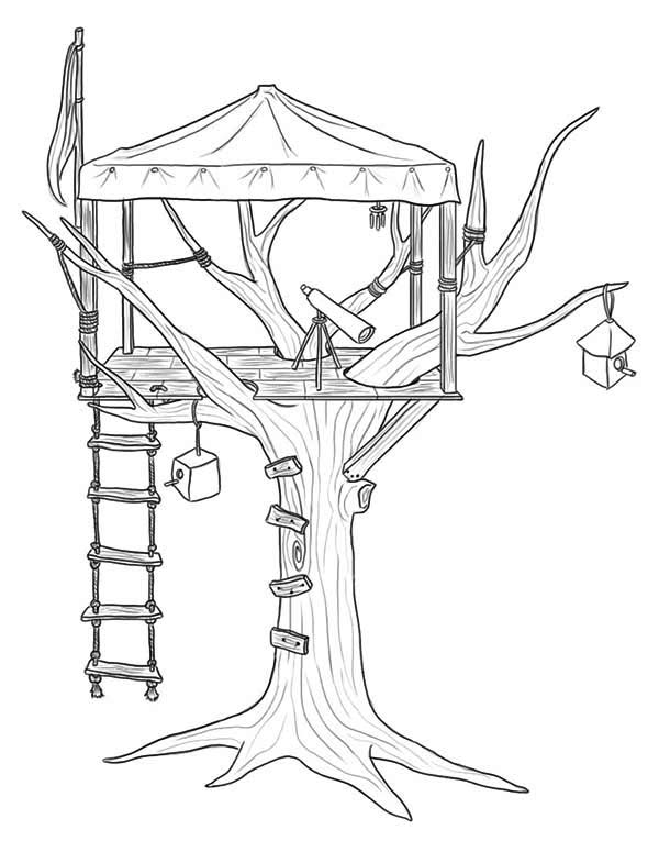 Treehouse, : Treehouse for Observer Coloring Page