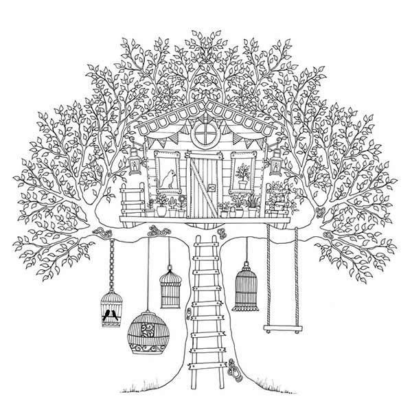 Treehouse, : Treehouse of Birds Coloring Page