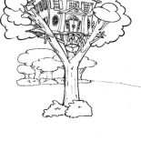 Treehouse, Treehouse With Elevator Coloring Page: Treehouse with Elevator Coloring Page