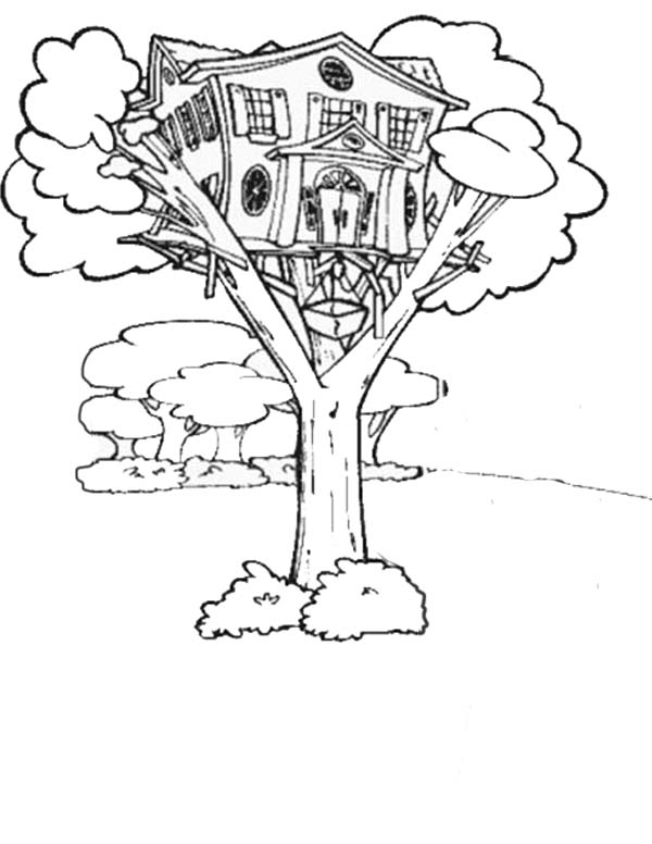 Treehouse, : Treehouse with Elevator Coloring Page
