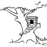 Treehouse, Treehouse With Round Stairway Coloring Page: Treehouse with Round Stairway Coloring Page