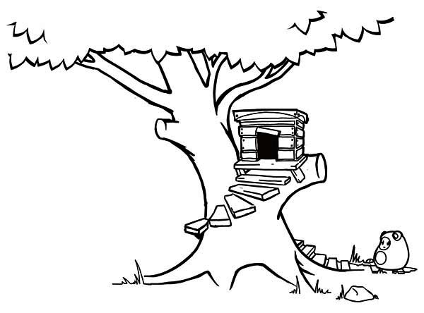 Treehouse, : Treehouse with Round Stairway Coloring Page