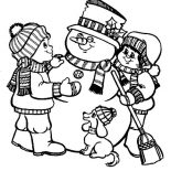 Snowman, Two Kids And Dog Make A Snowman Coloring Page: Two Kids and Dog Make a Snowman Coloring Page