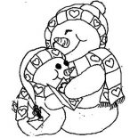 Snowman, Two Snowman Holding Each Other Coloring Page: Two Snowman Holding Each Other Coloring Page
