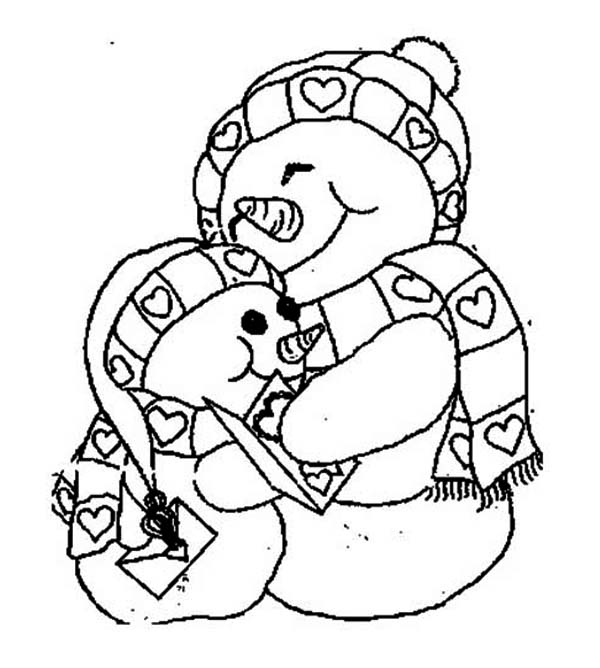 Snowman, : Two Snowman Holding Each Other Coloring Page