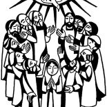 Pentecost, Virgin Maria And Apostles In Pentecost Coloring Page: Virgin Maria and Apostles in Pentecost Coloring Page