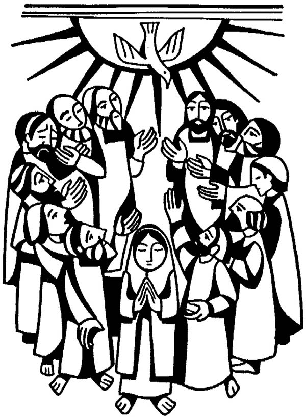 Pentecost, : Virgin Maria and Apostles in Pentecost Coloring Page