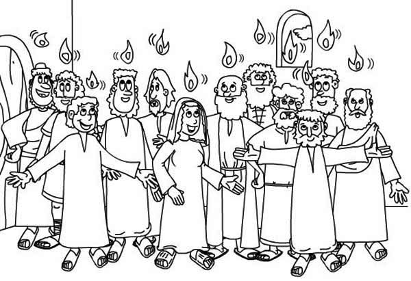 Pentecost, : White Sunday in Pentecost Coloring Page