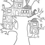 Treehouse, Wierd Treehouse Coloring Page: Wierd Treehouse Coloring Page