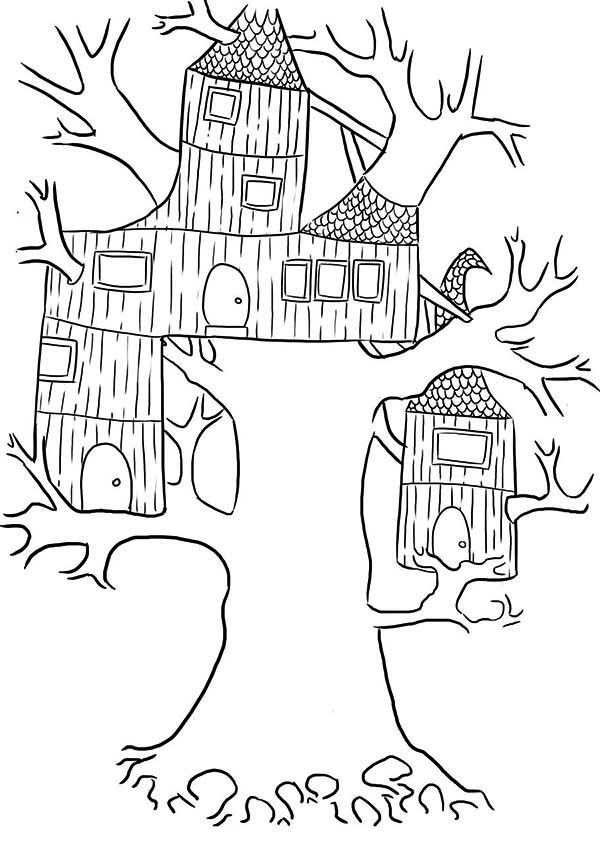 Treehouse, : Wierd Treehouse Coloring Page