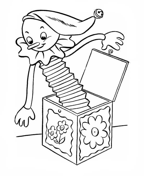 April fools, : April Fools Day with Jack in the Box Coloring Page