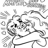 Archie, Archie Being Kissed By Betty Cooper Coloring Page: Archie Being Kissed by Betty Cooper Coloring Page