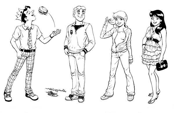 Archie, : Archie Comics Characters Coloring Page