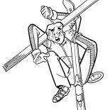 Archie, Archie Stuck On His Skiing Equipment Coloring Page: Archie Stuck on His Skiing Equipment Coloring Page