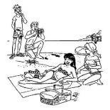 Archie, Archie And Friends Is In Vacation On The Beach Coloring Page: Archie and Friends is in Vacation on the Beach Coloring Page