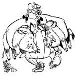 Asterix, Asterix Friend Obelix Catch Two Wild Boar Coloring Page: Asterix Friend Obelix Catch Two Wild Boar Coloring Page