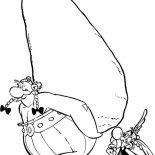 Asterix, Asterix Saw Obelix And Dogmatix Deliver Menhir Coloring Page: Asterix Saw Obelix and Dogmatix Deliver Menhir Coloring Page