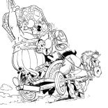 Asterix, Asterix And Obelix Ride Horse Carriage In The Adventure Of Asterix Coloring Page: Asterix and Obelix Ride Horse Carriage in the Adventure of Asterix Coloring Page