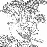 Birds, Bird Among Beautiful Flowers Coloring Page: Bird Among Beautiful Flowers Coloring Page