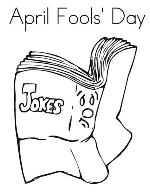 April fools, : Book for April Fools Day Coloring Page